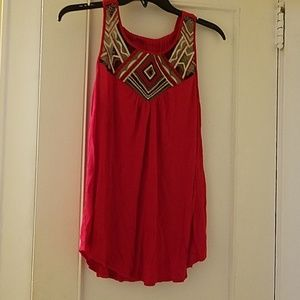 Red embroidered tank top